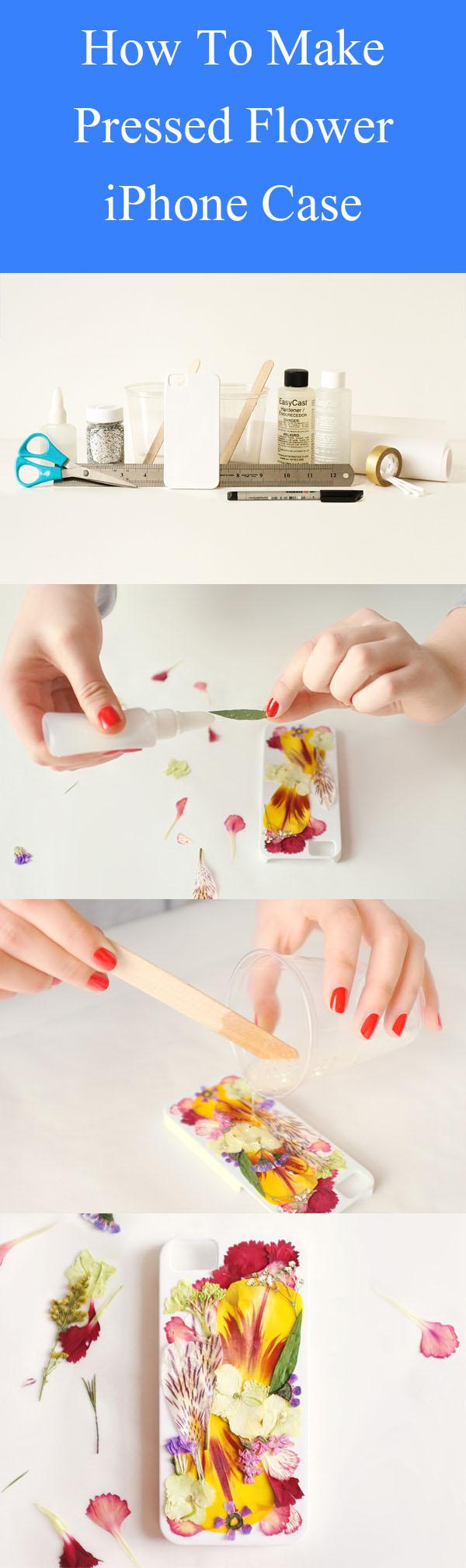 DIY Preslenmiş Çiçek iPhone Kılıfı