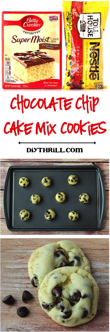 Chocolate Chip Cake Mix Cookie Recipe from DIYThrill.com