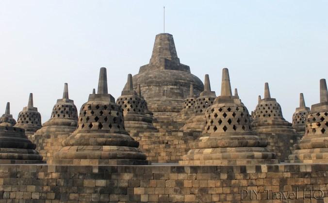 Bell-shaped stupas on Borobudur