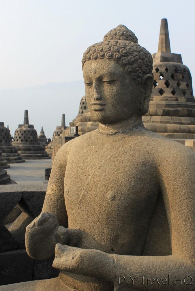 Cross Legged Buddha Statue on Borobudur