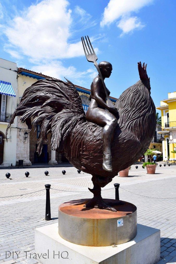 Old Havana Plaza Vieja Girl Riding Oversized Chicken Holding Fork