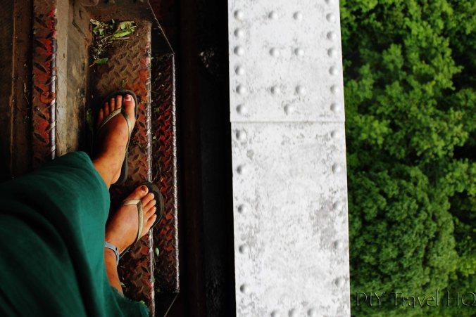 Feet on the edge of Gokteik Viaduct