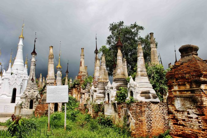 Ancient stupas in Ancient stupas lying in ruins at Shwe Indein Pagoda