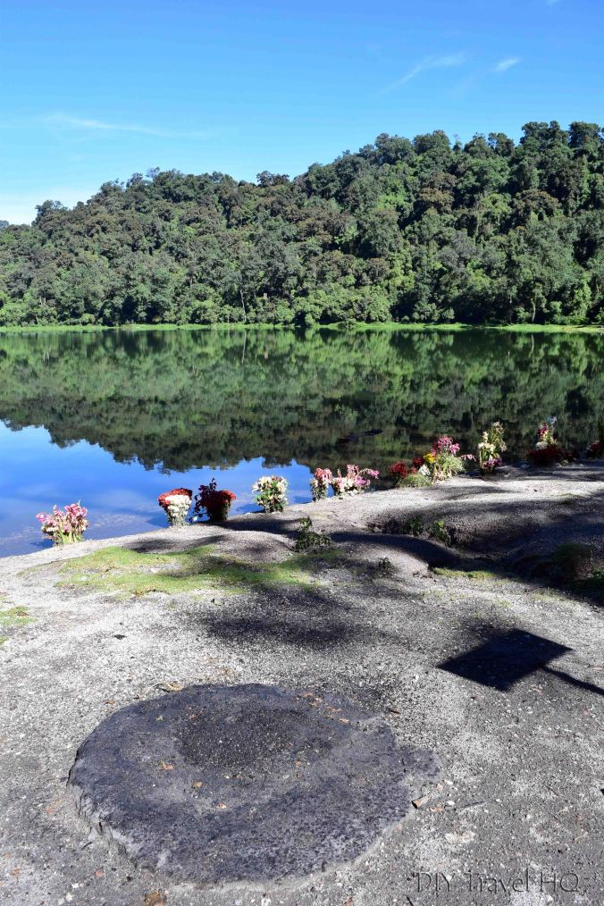 Laguna Chicabal Altar and Flower Offerings Lakeside