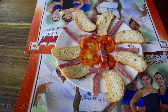 Bread & salami entree in Baracoa