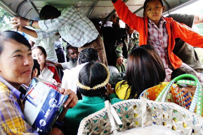 People in pickup truck Myanmar