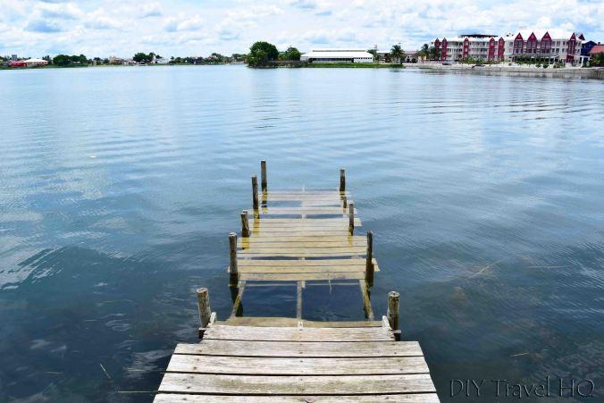 Flores Lago de Peten Itza Rising Over Dock