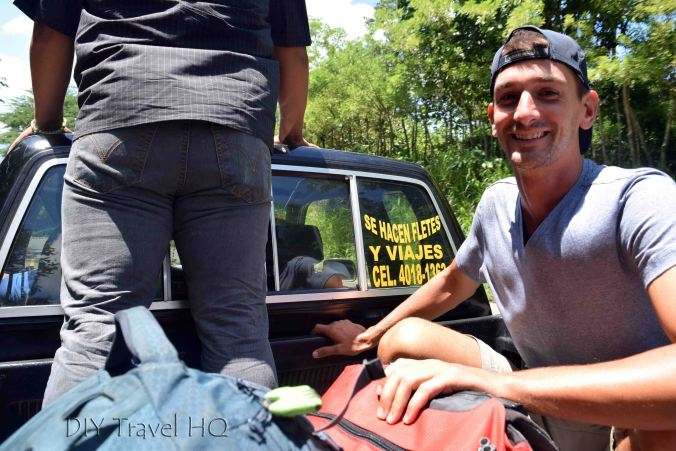 Hitchhiking in Back of Truck to Quirigua