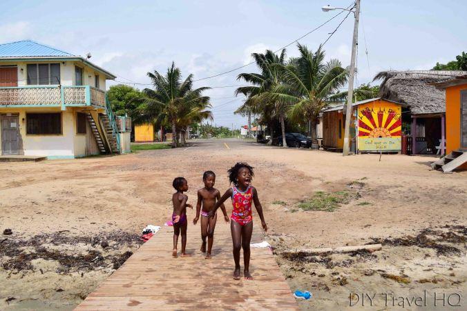 Garifuna kids at Hopkins pier