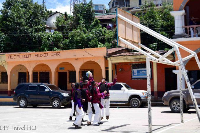 San Juan Atitan Locals Playing Basketball in Traditional Clothing