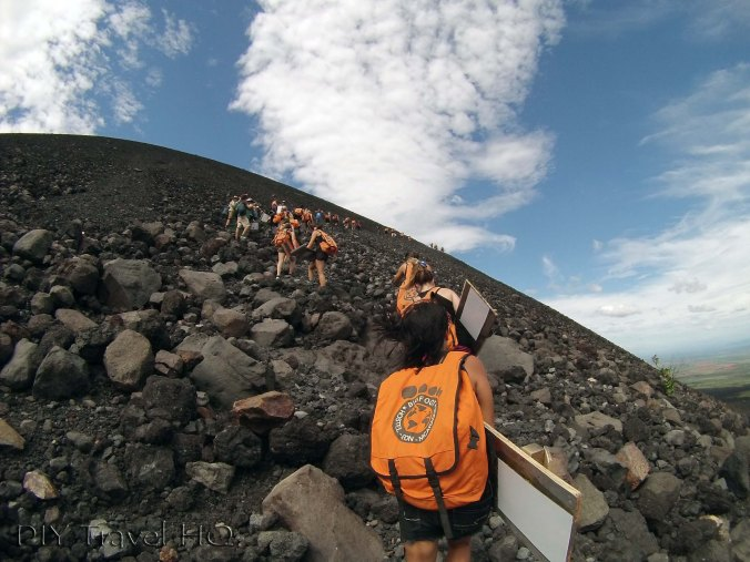 Climbing Cerro Negro with Boards