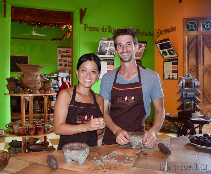 Peeling Cacao Outer Shells during Choco Museo Chocolate Workshop