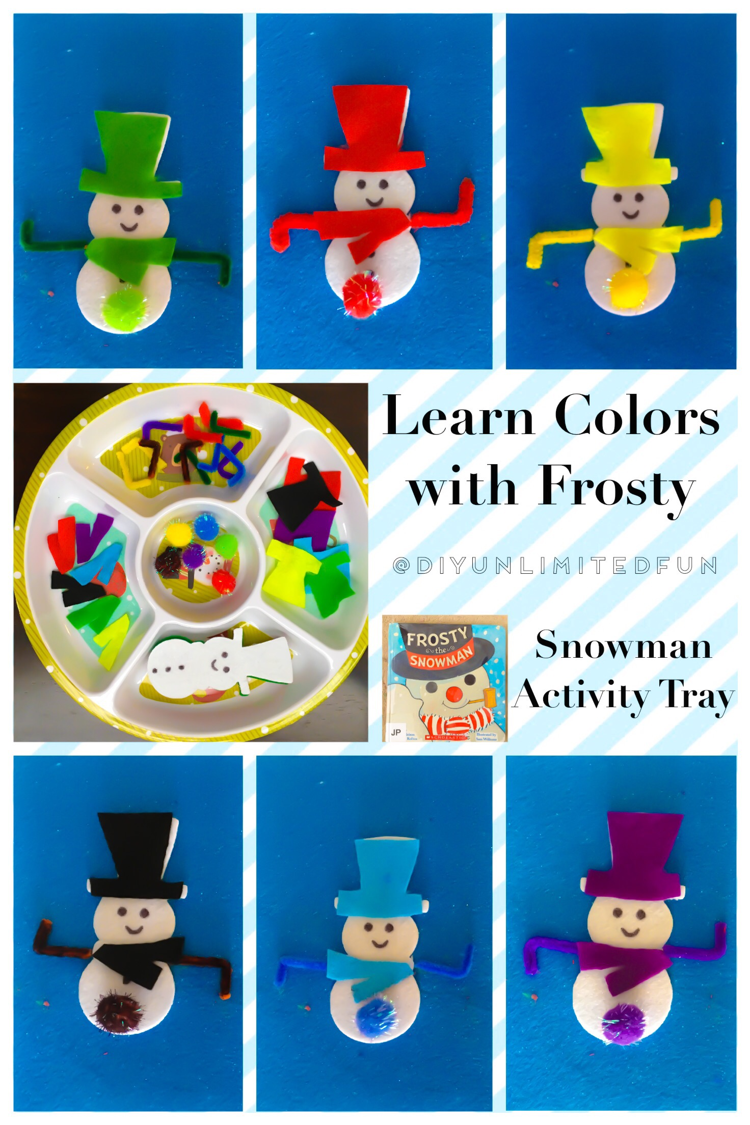 Learn Colors With Frosty Snowman Activity Tray Simple Diys Kids Activities