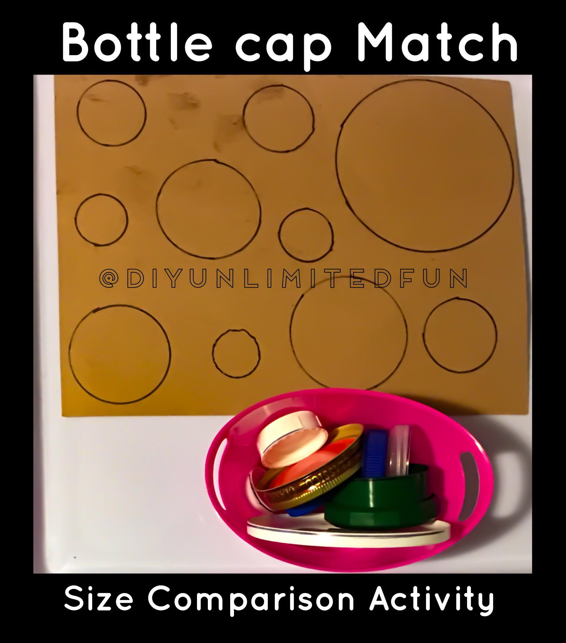 Bottle Cap Match Size Comparison Activity Simple Diys