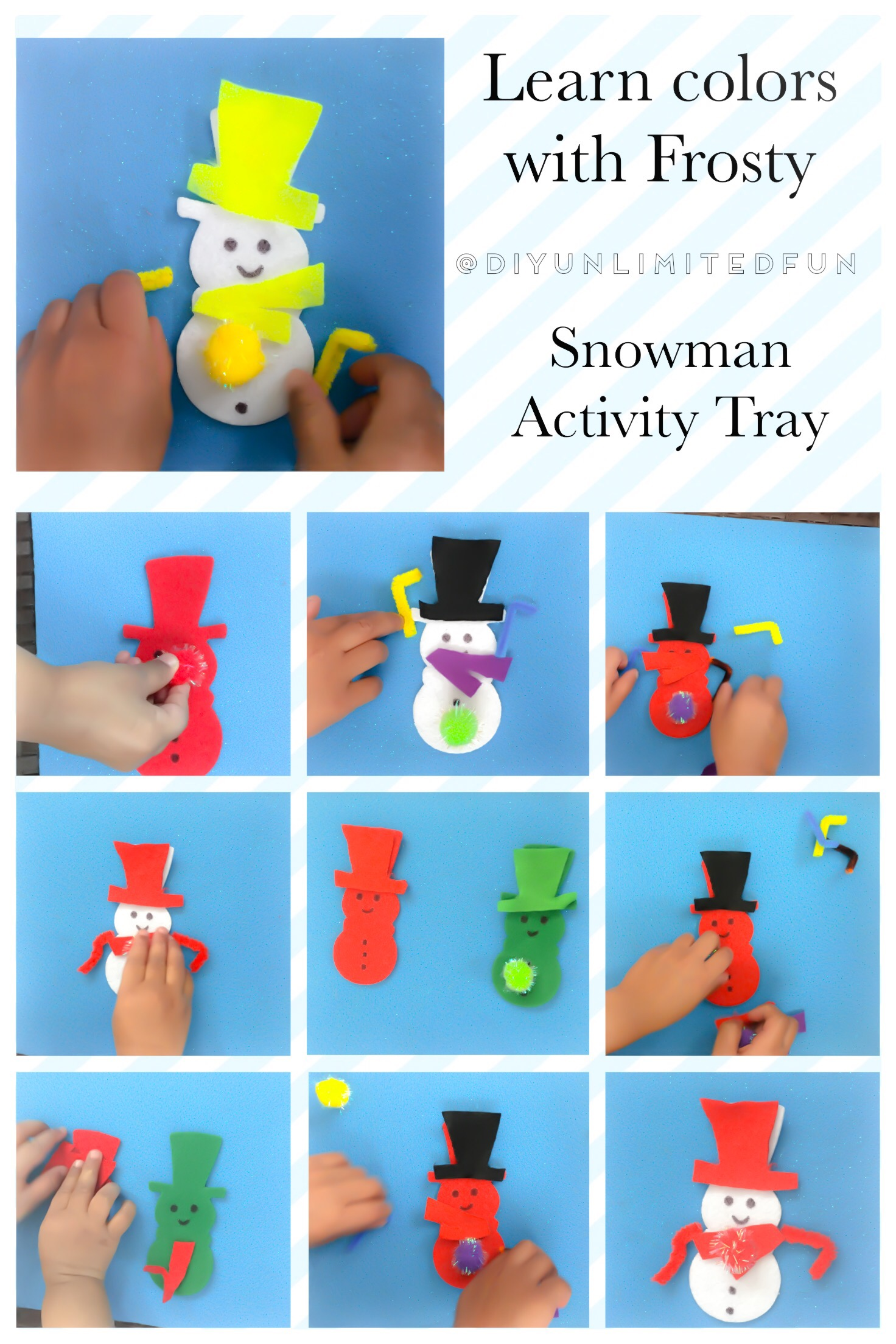 Learn Colors With Frosty Snowman Activity Tray Simple