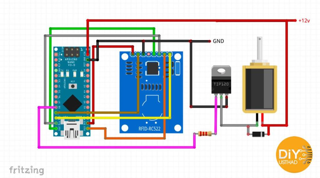 RFID Lock using Arduino nano by diyusthad.com