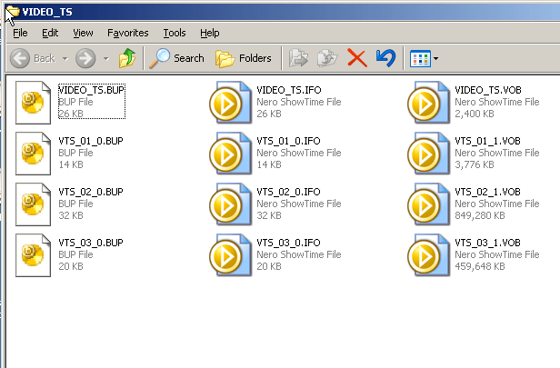 Image showing the contents of the VIDEO_TS folder from a DVD including IFO and BUP files.