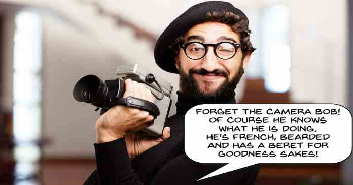 Humorous image of french guy with a bad camera.
