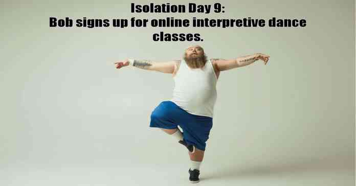 Humorous image of overweight man attempting to learn interpretive dance.