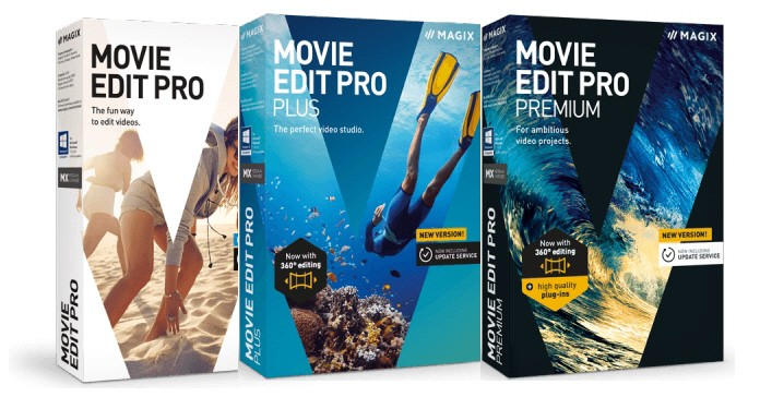 Collected box shots of the Magix Movie Edit Pro range of products.