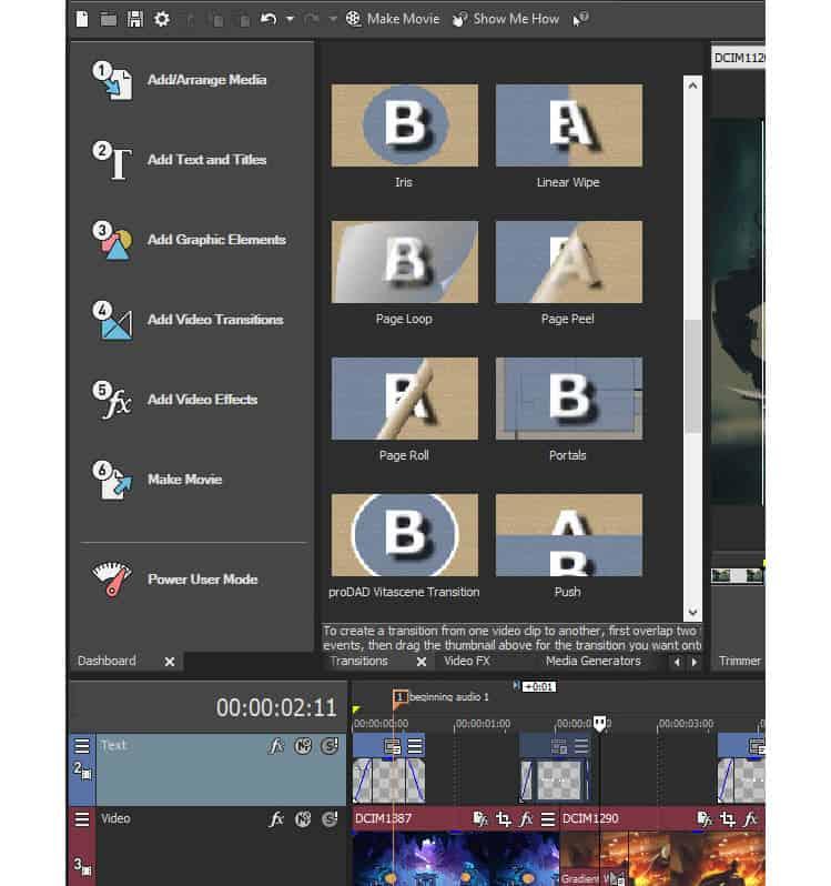 Closeup of Vegas Movie Studio mode based editing menu.