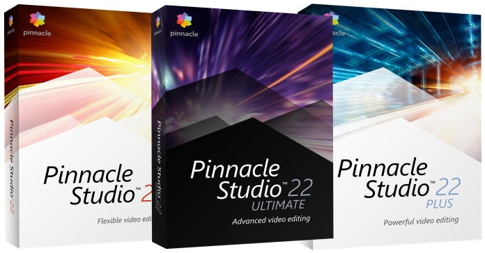 Image of the Pinnacle Studio 22 product range boxes.