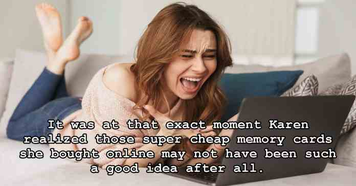 Humorous image of woman realizing she has lost data from a bad memory card.