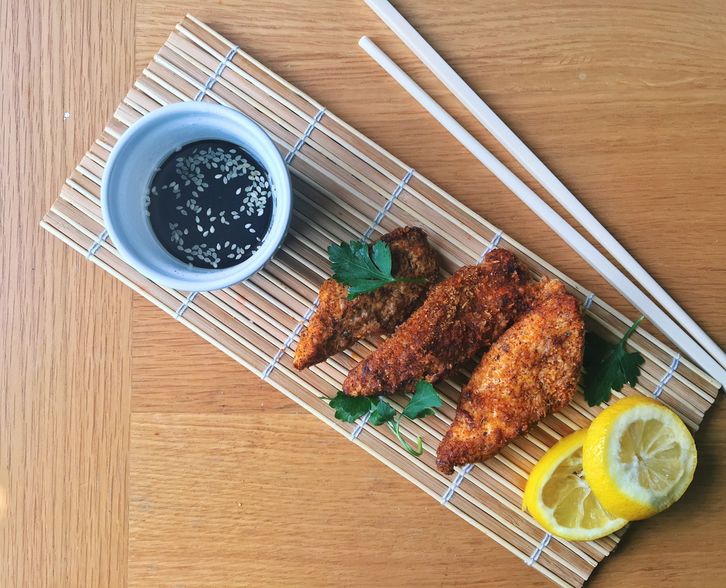Baked Chicken Strips with a Korean Dipping Sauce