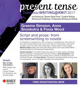 Invitation to the Script and Prose evening at RMIT Design Hub