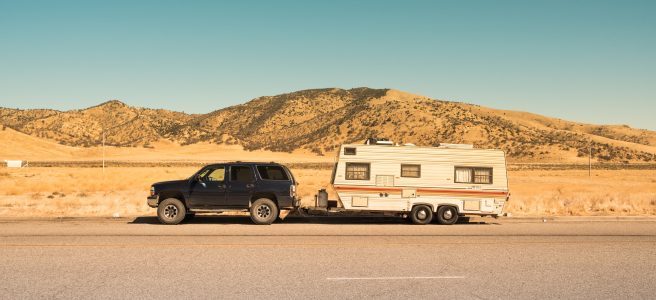 Caravan, car, arid, road, mountain | See more at www.diywoman.net