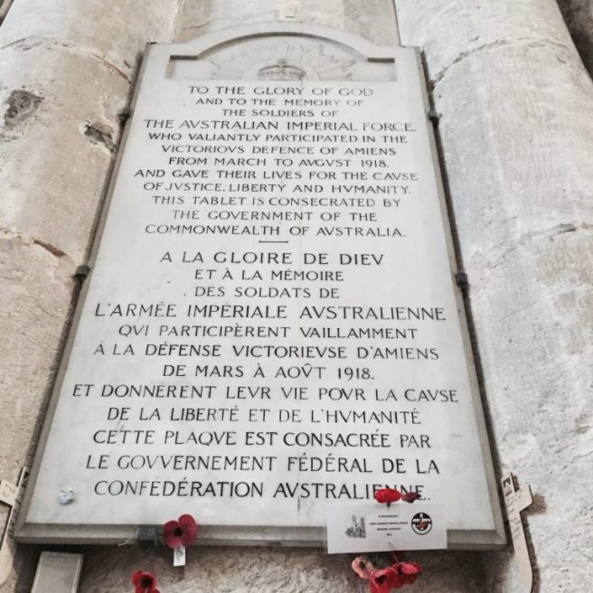 marble plaque, Amiens cathedral, WWI, centenary, armistice | See more at www.diywoman.net