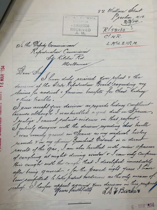Letter written in copperplate handwriting requesting a review of the decision by the Repatriation Commission to refuse its author any compensation injuries resulting from his war service in WWI. It is signed LSF Barker