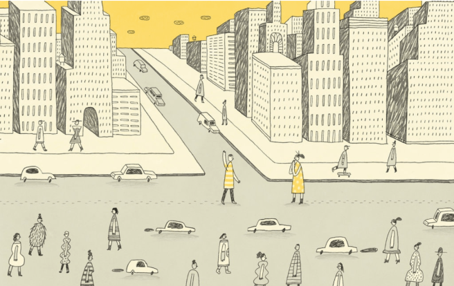 An illustration from the New York Times Modern Love. It shows a man and a woman standing in the middle of a busy New York Street with traffic all around.