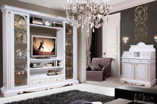 Белая стенка в гостиную - 82 фото красивых идей ...