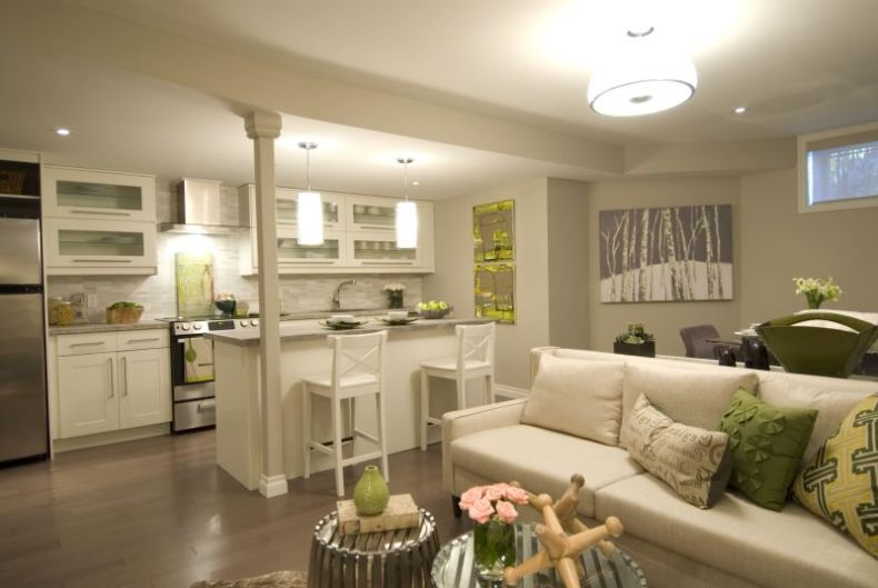 дизайн гостинной с кухней 7