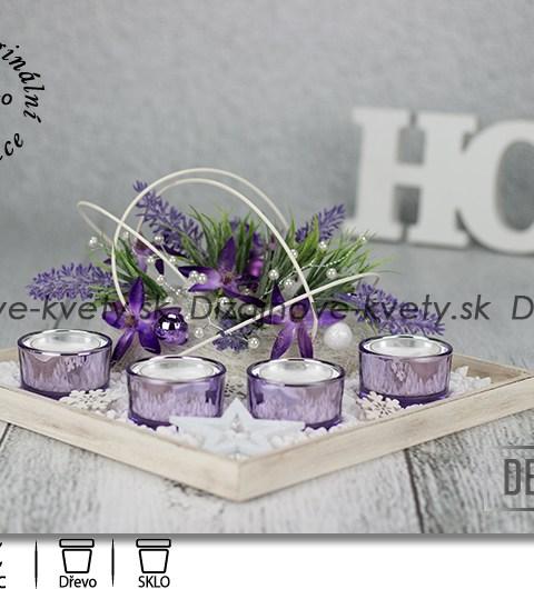 moderné svietnik, svietnik na stôl, fialový svietnik, svietnik na čajové sviečky.