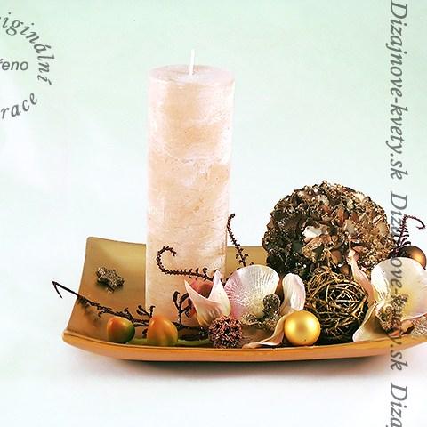 Luxusný svietnik s veľkou sviečkou - Vianočny.