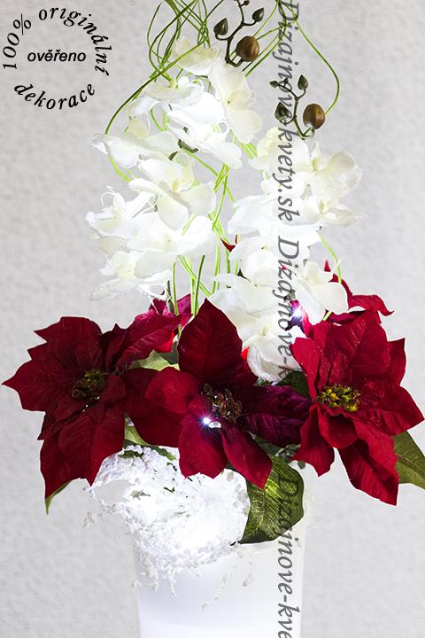 Luxusné dizajnová vianočná dekorácie vo vysokej váze s led svetlami do zásuvky
