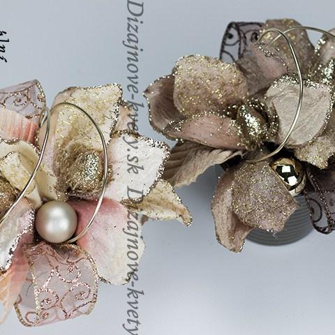 Luxusný dizajnový set vianočných a adventných dekorácií s kvetinami