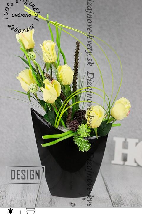 Dizajnová dekorácia v čiernej váze