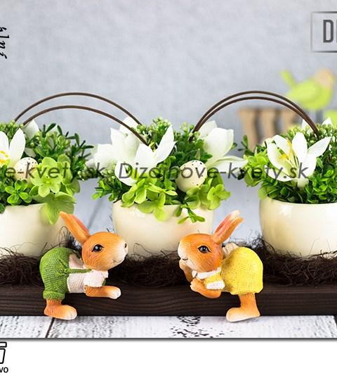 Dizajnová dekorácie na stôl s keramickými zajačikmi