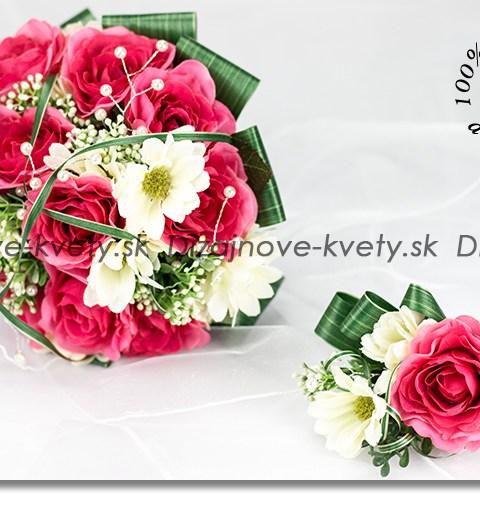 Romantická svadobná kytice s ruží a bielych margarét