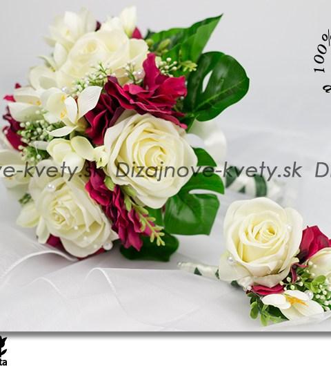 Svatobná kytica zametových ruží afrézií s korsáží