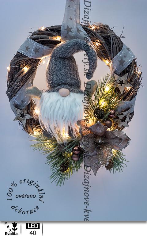 veniec na dvere, vianočné dekorácie, škriatok, ľad osvetlenie, hviezdy