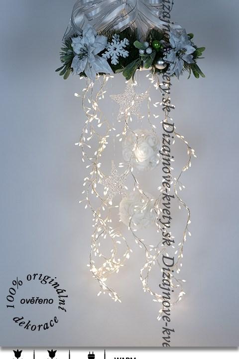 LED dekorácie, vianočné dekorácie, veniec, imelo, dekorácie na zavesenie