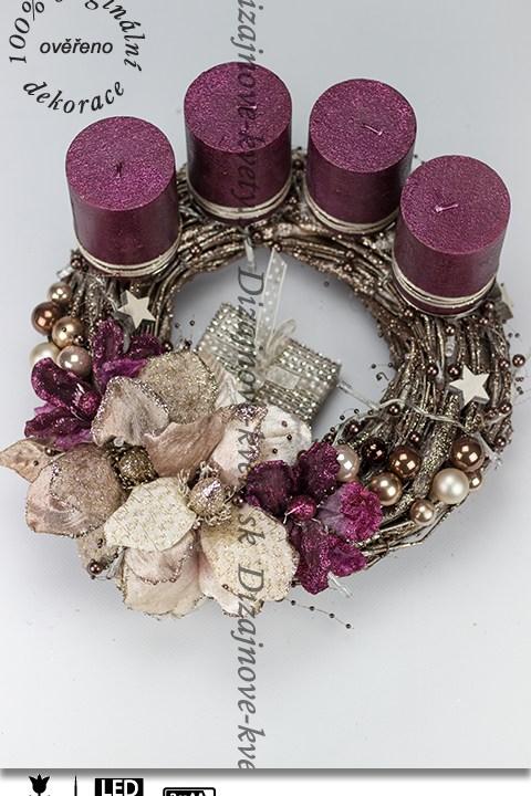 dárek, adventní věnec, LED perly, vánoční květy magnólií