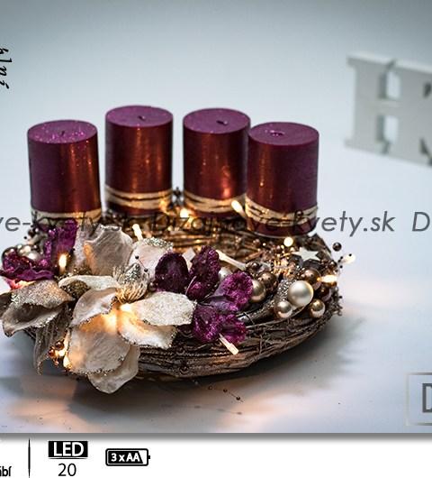 luxusný, adventný svietnik, zlaté kvety, magnólia