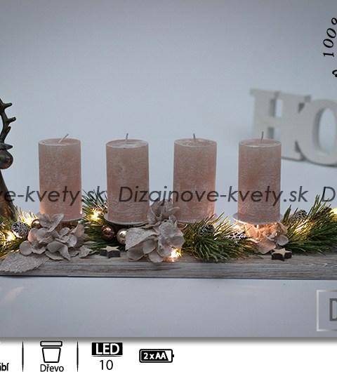 LED vianočné svietnik, dekorácie na stôl, borovica, štruktúrované drevo