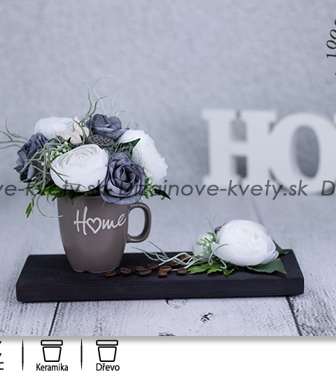 kvetinový design, biele kvety, hrnček, dekorácie do kuchyne, šedý odtieň, káva