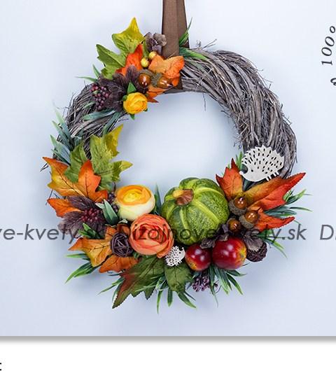 jesenné výzdoba, veniec na dvere, ježko, farby jesene, tekvica